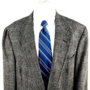 Austin Reed 44L 2 Button Tweed Check Wool Black